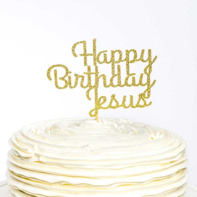 Happy Birthday Jesus Cake Topper Christmas