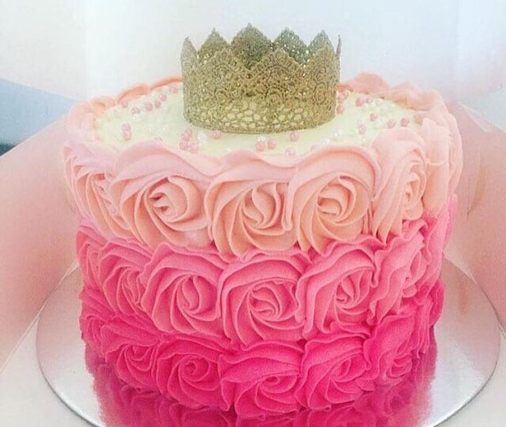Surprising Crown Cake Topper Princess Crown Cake Gold Crown Pink Etsy Funny Birthday Cards Online Elaedamsfinfo