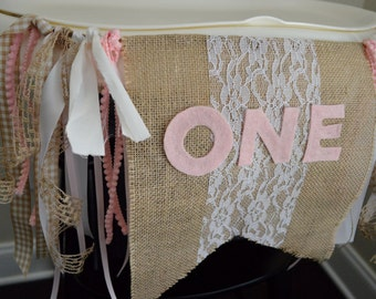 Shabby Chic Burlap Highchair Birthday Banner, One Year Birthday Banner, Highchair Birthday Sign, Highchair Birthday Banner, 1 Year Birthday