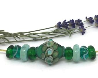 Blues and Greens Lampwork Bead Set