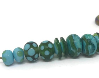 Olive Green and Turquoise Torchwork Bead Set/Rebeccas Glass Studio
