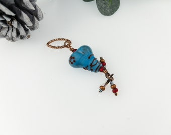 Turquoise Heart with Red Fine Lines/ Lampwork Glass Heart Pendant