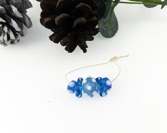 Light Blue and White Lampwork Bead Set / Jewelry Designers Favorite.