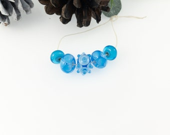 Turquoise Blue and White Bead Set / Lampwork for Jewelry Designers