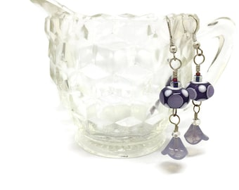 Lampwork Glass Earrings - Purple, White and Lavender