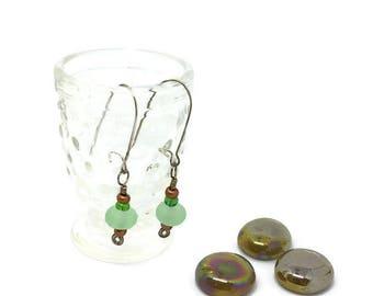 Green Etched Earrings-Lampwork Handmade Glass