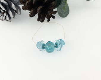 Light Blue Glass Beads / Small 5 Bead Set / For Jewelry Designers