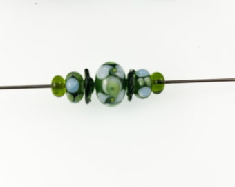 Olive Green Lampwork Bead Set /  Spring Green for Designers/Three Designed Beads and Four Spacers