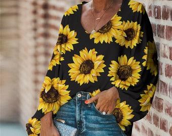 Women's SUNFLOWERS Lantern Sleeve Top Blouse Cool Light Stylish Great For Summer Sz S, M, L, XL, 2XL, 3XL