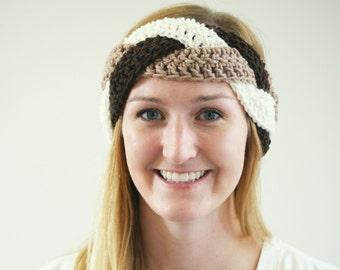 Women's Braided Headband, Neutral Women's Earwarmer, Brown Headband, Crochet Braid Headband, Coffee, Brown, and Cream Braid Headband for Her