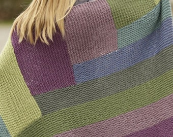 Handmade hand knit colorblock chunky soft warm alpaca and wool blend blanket / throw,  88 x 130 cm / 34'' x 51
