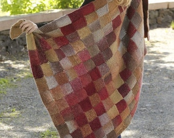"""Handmade hand knit blanket / throw in entrelac (basket-woven squares) patten multicolor in soft 100% wool (93 cm / 36"""" x 150 cm / 59'')"""
