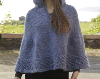 Women handmade hand knit poncho / cape with hood in 100% soft wool, size S-M-L-XL-XXL-XXXL