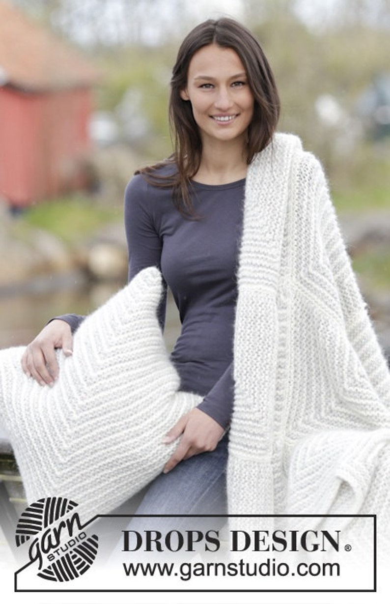 Handmade knitted warm chunky blanket  throw and pillowcase in domino squares pattern made in soft alpaca wool