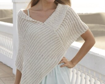 Women handmade hand knit summer light poncho/wrap/shoulder warmer/cape in soft alpaca boucle/cotton viscose mix, size  S/M- L/XL-XXL-XXXL