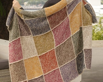 Handmade hand knit blanket / throw in 100 % extra soft Alpaca Wool in multicolor Squares Pattern
