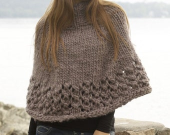 Women handmade hand knit poncho / cape / wrap in 100% soft wool with turtleneck and lace edge in sizes S/M-L/XL-XXL-XXXL