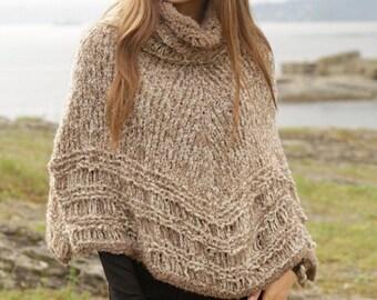Handmade hand knit women poncho sweater / cape / wrap in soft alpaca boucle - sizes S/M, M/L, XL/XXL