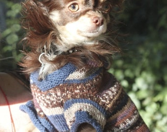 Dog sweater / jumper / hoodie in soft wool (handmade) - sizes XS - S - M