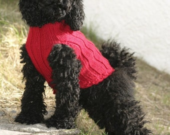 Dog sleeveless sweater / vest / coat handmade knit in soft wool - size XS - S - M