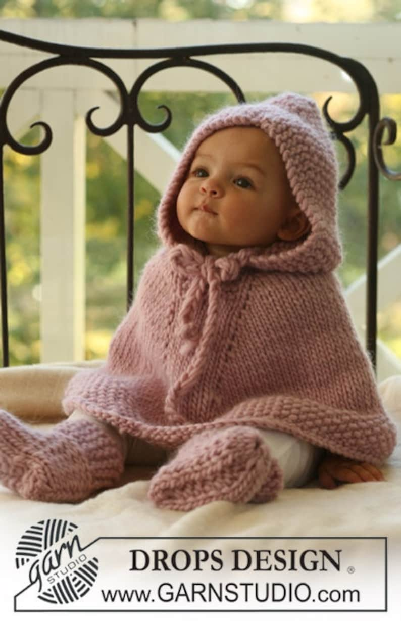size 13-69 hand knitted in 100/% soft wool or set with booties 2 \u2013 34 years Christmas gift Baby poncho  cape 1218 months