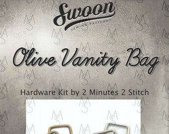 Olive Vanity Bag - Swoon Patterns - Swoon Hardware Kit - Olive Hardware - Bag Hardware Kit - by 2 Minutes 2 Stitch