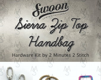 Sierra Zip Top Handbag - Swoon Patterns - Swoon Hardware Kit - Sierra Hardware - Bag Hardware Kit - by 2 Minutes 2 Stitch