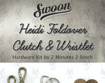 Heidi Foldover Clutch & Wristlet - Swoon Patterns - Swoon Hardware Kit - Heidi Hardware - Bag Hardware Kit - 2 Minutes 2 Stitch