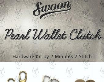 Pearl Wallet Clutch - Swoon Patterns - Swoon Hardware Kit - Pearl Hardware - Clutch Hardware Kit - by 2 Minutes 2 Stitch