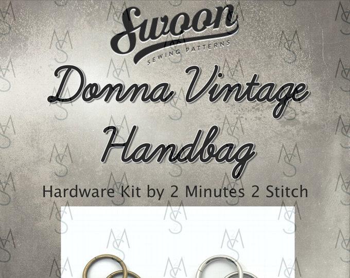 Donna Vintage Handbag - Swoon Patterns - Swoon Hardware Kit - Donna Hardware - Bag Hardware Kit - 2 Minutes 2 Stitch
