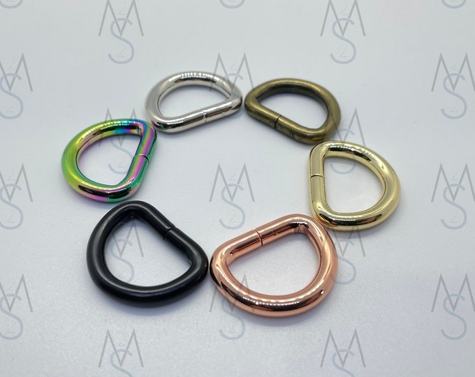 D-Rings - 3/4 Inch Wide - 4 Pieces - Dee Rings - Bag Hardware - 2 Minutes 2 Stitch - Rainbow D Rings - Rose Gold Hardware