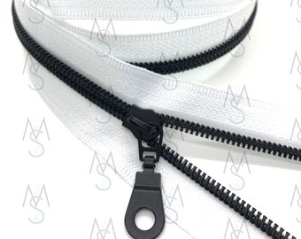 Black Nylon Coil Zipper (#5 Size) with White Tape & Black Metal Pulls - Zipper by the Yard - Nylon Coil Zipper - Metallic Zipper