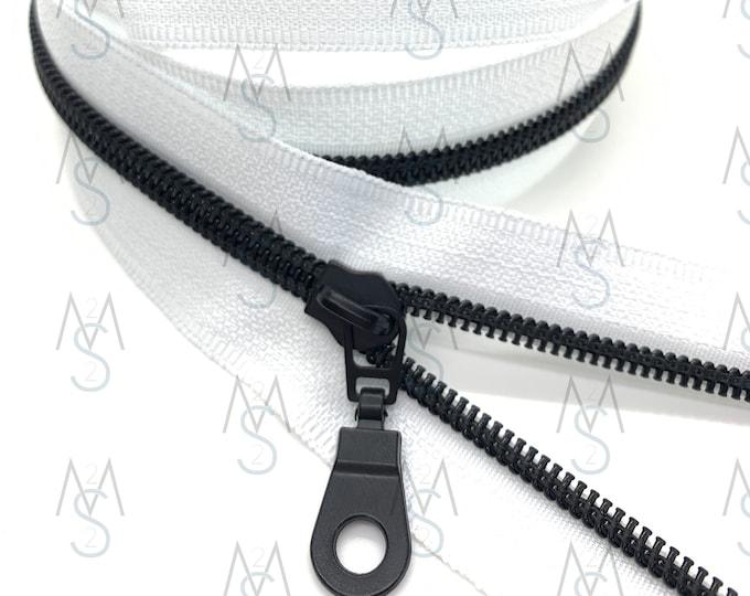 Black Nylon Coil Zipper (#5 Size) with White Tape & Black Metal Pulls - Zipper by the Yard - Nylon Coil Zipper - Metallic Zipper