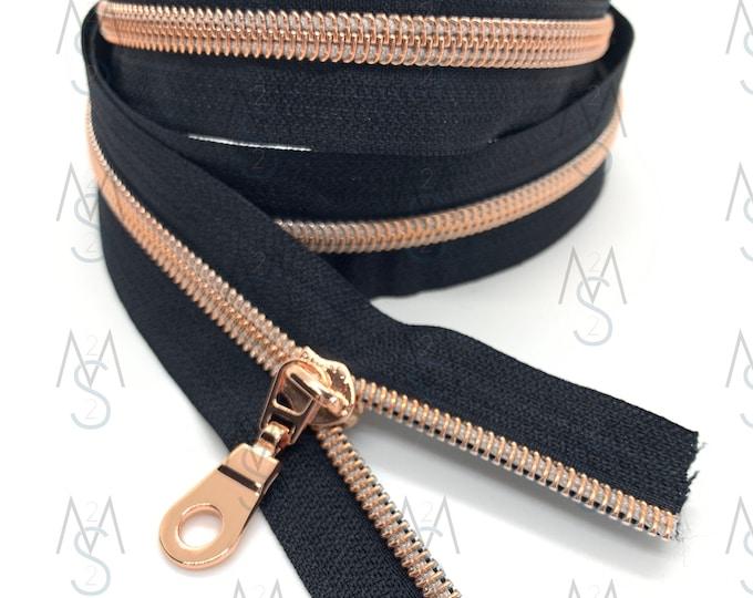 Rose Gold Nylon Coil Zipper (#5 Size) with BlackTape & Rose Gold Pulls - Zipper by the Yard - Nylon Coil Zipper - Metallic Zipper