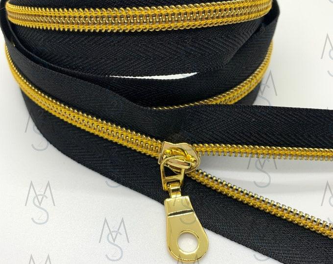 Gold Nylon Coil Zipper (#5 Size) with BlackTape & Gold Pulls - Zipper by the Yard - Nylon Coil Zipper - Metallic Zipper