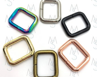 4 Rectangle Rings - 3/4 Inch Wide - 13mm - Square Bag Rings - Bag Hardware - 2 Minutes 2 Stitch - Rainbow Hardware - Rose Gold Hardware