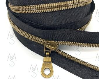 Antique Brass Nylon Coil Zipper (#5 Size) with BlackTape & Antique Brass Pulls - Zipper by the Yard - Nylon Coil Zipper - Metallic Zipper