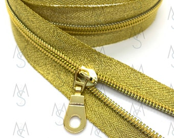 Gold Nylon Coil Zipper (#5 Size) with Metallic Tape & Gold Pulls - Zipper by the Yard - Nylon Coil Zipper - Metallic Zipper