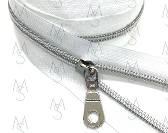 Silver Nylon Coil Zipper (#5 Size) with WhiteTape & Nickel Pulls - Zipper by the Yard - Nylon Coil Zipper - Metallic Zipper