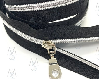 Silver Nylon Coil Zipper (#5 Size) with Black Tape & Nickel Pulls - Zipper by the Yard - Nylon Coil Zipper - Metallic Zipper