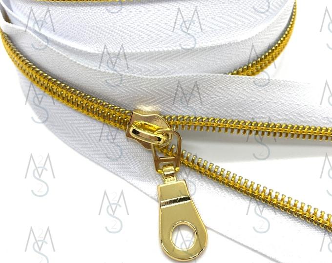 Gold Nylon Coil Zipper (#5 Size) with White Tape & Gold Pulls - Zipper by the Yard - Nylon Coil Zipper - Metallic Zipper