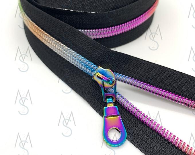 Rainbow Nylon Coil Zipper (#5 Size) with Black Tape & Rainbow Pulls - Zipper by the Yard - Nylon Coil Zipper - Metallic Zipper