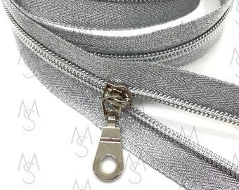 Silver Nylon Coil Zipper (#5 Size) with Metallic Tape & Nickel Pulls - Zipper by the Yard - Nylon Coil Zipper - Metallic Zipper