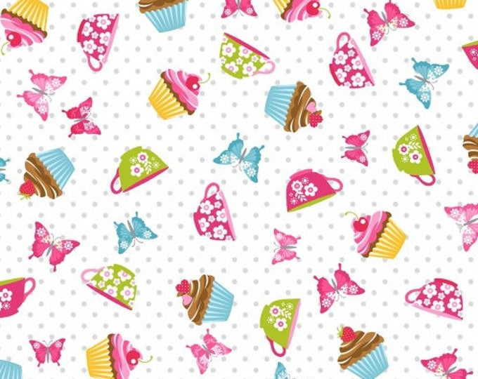 Cupcake Cafe by Studio E - Tossed Cupcakes on White - Cotton Woven Fabric - FAT QUARTER