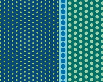 Dot Crazy by Benartex - Playground Teal - Cotton Woven Fabric - FAT QUARTER