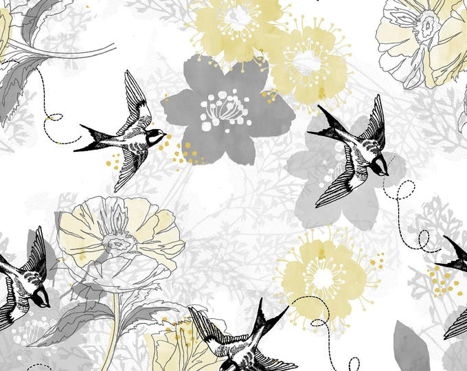 Marbella by Fabric Editions - Birds & Flowers - Cotton Woven Fabric