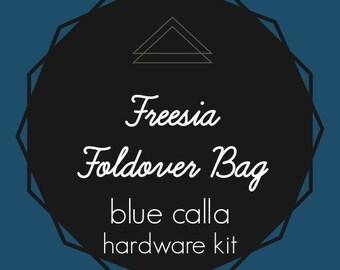 Freesia Foldover Bag - Blue Calla Hardware Kit - Swivel Clips, D-Rings