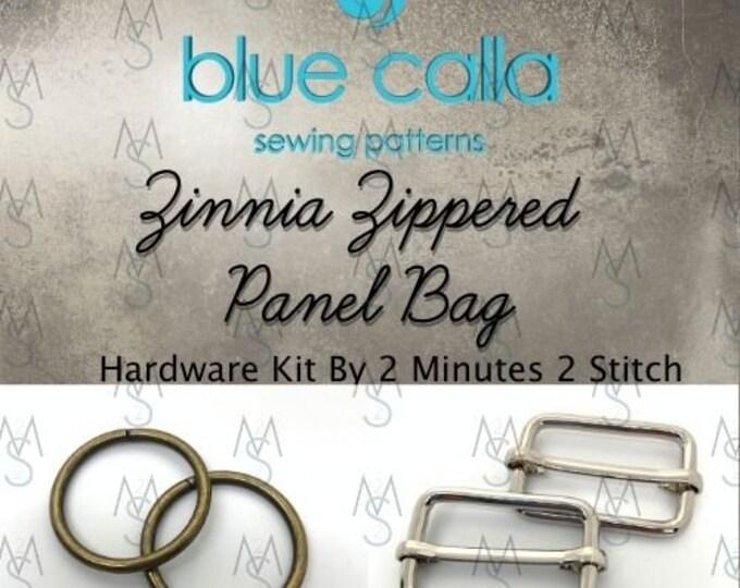 Zinnia Zippered Panel Bag - Blue Calla Hardware Kit - Swivel Clips, D-Rings