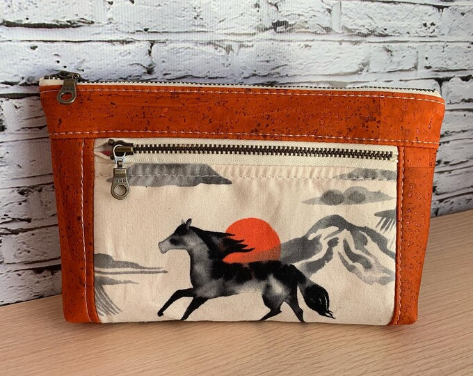 Devon Zipper Pouch - Mustang Horse Cork Vegan Leather
