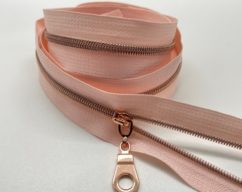 Rose Gold Nylon Coil Zipper (#3 Size) with Rose Tape & Rose Gold Pulls - Zipper by the Yard - Nylon Coil Zipper - Metallic Zipper